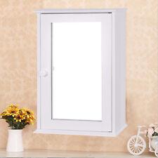 New Bathroom Wall Cabinet Single Mirror Door Cupboard Storage Wood Shelf White