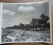 WWII PHOTO - CBI - CAUSEWAY ON LEDO ROAD BURMA - Convey Of Gravel Trucks 1944