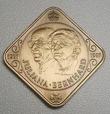 Netherlands 1987 Juliana&  Bernhard 50 Years Of Marriage  Bronze Medal UNC