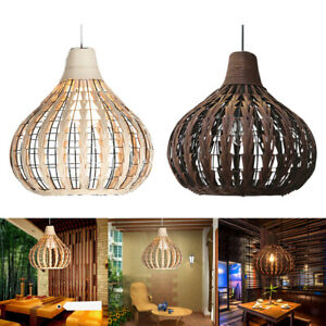 Bamboo Pendant Lamp Shade Cafe Bar Office Hand-made Ceiling Light Cover