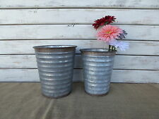 Large Vintage Inspired Galvanized Metal Bucket Vase Wedding Farmhouse Decor NEW