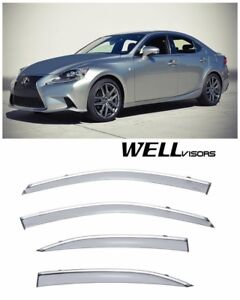 For 14-21 Lexus IS250 IS200T IS300 WellVisors Side Window Visors W/ Chrome Trim