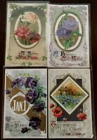 Lot of 4 John Winsch ~Antique New Year Holiday Postcards--s403