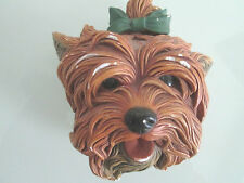 YORKSHIRE TERRIER BOSSONS PLASTER DOG WALL HEAD