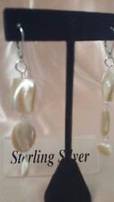 Hand-Made .925 Sterling Silver Dangle Caramel & Cream Mother of Pearl Earrings