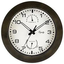 "Wall Clock Humidity Thermometer Hygrometer Indoor Outdoor Brown 10 "" Decor New"