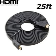HDMI 25ft Flat HDMI V1.4 3D Ethernet Cable For Blu-ray DVD Xbox One PS4 HDTV BK