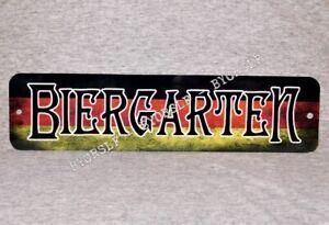 Metal Sign BIERGARTEN beer garden German flag dive bar brewery pub hall tavern