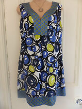 Nine West size 8 (UK 12) blue, white, black and yellow silk sleeveless dress