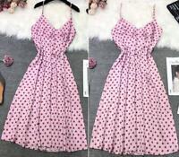 BNWT ZARA Pink SPOT Satin MAXI DRESS Spotty POLKA DOT Size XL UK 12 14 Blogger