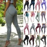 Womens High Waist Yoga Pants Seamless Leggings Fitness GYM Sports Slim Trousers