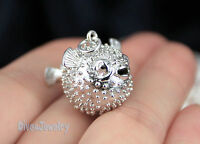 Sterling Silver life-like 3D Puffer Fish Pendant Necklace Great Scuba Diver Gift