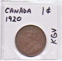 Canada 1 Cent Coin 1920 King George V As Pictured