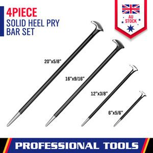 New 4Pc Solid Pry Bar Set Steel Prying Kit Rolled Heel Prying Pinch Lever Bars