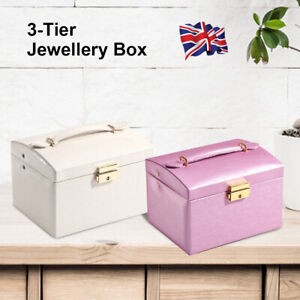 Girls Large 2 Drawer Jewellery Box Leather Finish Ornaments Storage Organizer