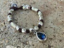 Handmade Uno STYLE De Único 50's Real Leather Bracelet BLUE (139)