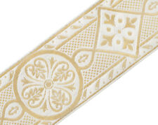 3 Yards White & Metallic Gold Medieval Jacquard Trim Chasuble Vestment  2 3/8""