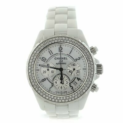 Chanel J12 Chronograph Automatic Watch Ceramic and Stainless Steel with Diamond