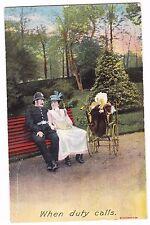 WHEN DUTY CALLS---MOM-POLICEMAN- BABY----1916 POSTCARD--BAMFORTH