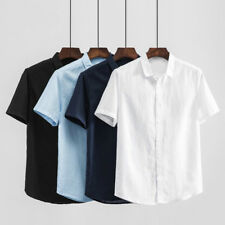 Men Casual Linen T-Shirt Button Front Short Sleeve Solid Clothes Work Wear Tops