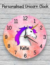 personalised unicorn clock wall clock child's name christmas gift