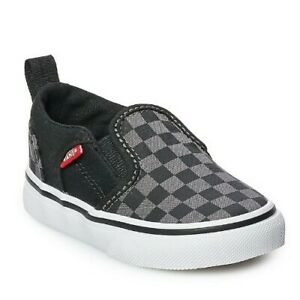 New Adorable Vans Asher Toddler Boys Skate Shoes Black & Grey Check, Size 9 T