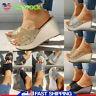 Women Platform Wedge Casual Slipper Sandals Summer Party High Heel Glitter Shoes