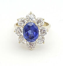 Ladies Ring 10ct (417, 10K) Yellow Gold Sapphire & Diamante Ring