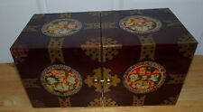 VINTAGE JAPANESE WOOD LACQUER MOTHER OF PEARL FOLDING JEWELRY BOX