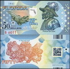 ACC STATE BANK NOTE: FLORIDA POLYMER FANTASY BILL, PONCE DE LEON, ALLIGATOR!