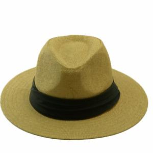 Mens Womens Summer Beach Sun Straw Panama Fedora Hats Flat Hat Big Brim Band Cap