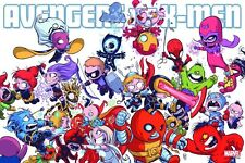 AVENGERS VS X-MEN POSTER SKOTTIE YOUNG A-BABIES X-BABIES MARVEL COMICS 24x36