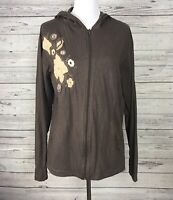 Magellan Outdoors Women's Brown Knit Embroidered Zip Front Hooded Jacket Sz XXL