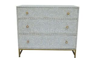 Bone Inlay Floral Design Chest of 3 Drawers Side Table With Iron Legs Grey