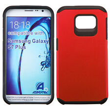 RED BLACK FUSION HYBRID RUBBERIZED COVER CASE For SAMSUNG Galaxy S7 Pl