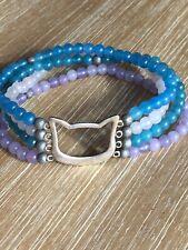 Cat Lady Box Exclusive - Silver Cat Bracelet Stone Beads