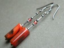 Deep Red Agate Tubes & Garnet Gemstones & Oxidised 925 Sterling Silver Earrings