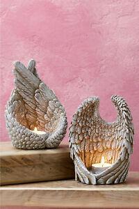 Set of 2 Angel Wings Tea-Light Candle Holders