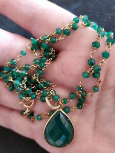"""Green Onyx Beads Gemstone Necklace and Pendant Separate 2p 925 Silver 34"""" NWOT"""