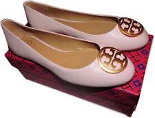 Tory Burch BENTON Reva Ballerina Flats Gold Logo Ballet Shoe 9 Pink Leather