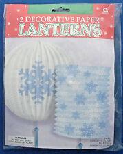 "Party decorations decorative paper lanterns set of 3 blue white snowflake 9"" & 7"