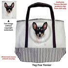 Toy Fox Terrier - Canvas Tote Bag Brown Straps/Stripes- Dogs Cats Birds