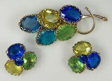 Vintage BLUE & GREEN GLASS STONE Brooch Clip Earrings Set Gorgeous Juliana