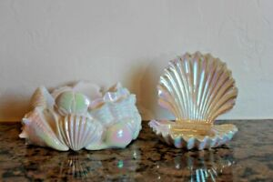 Bath & Body Works Iridescent Seashell Candle Holder & Matching Soap Holder~2021~