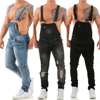 Mens Ripped Denim Dungarees Overalls Bib And Brace Jeans Jumpsuit Pants Trousers