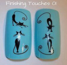 Nail Art de transferencia de agua-Black Cat calcomanía # 186 D244 Animal Brillante Adhesivo Wrap