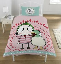 Cbeebies Sarah and Duck Single Duvet Quilt Cover Set Girls Kids Pink Bedroom