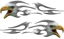 """Motorcycle Tank Eagle Head Flame Decals Silver 8"""" REFLECTIVE FL10"""