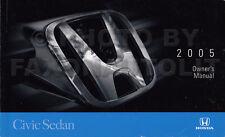 2005 Honda Civic Owners Manual 4 Door Sedan Original Owner Guide Book
