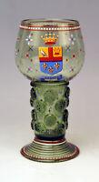 LOBMEYR WIEN WEIN GLAS RÖMER EMAILMALEREI WAPPEN GLASS VINTAGE VIENNA UM 1910